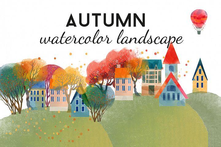 Autumn watercolor landscape