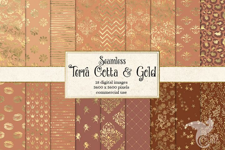 Terra Cotta and Gold Digital Paper