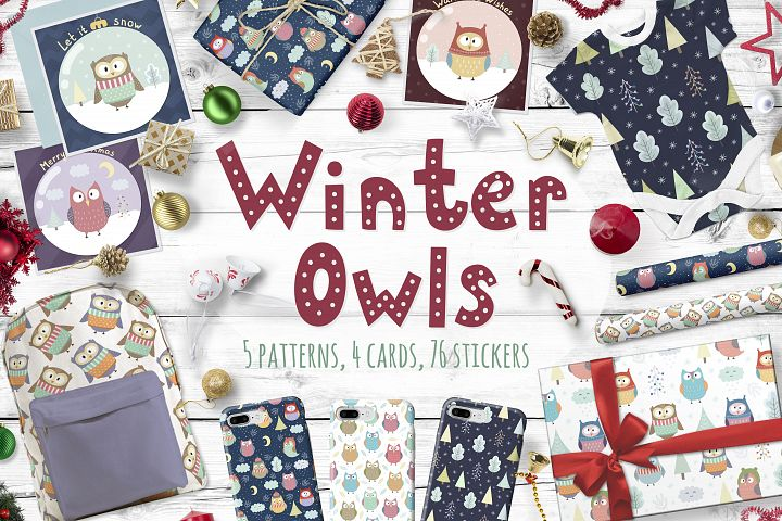 Winter Owls: patterns, cards and elements