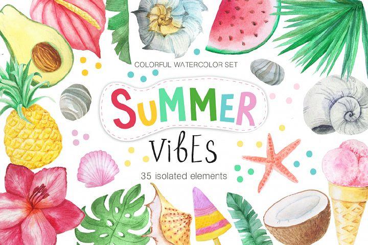 Watercolor Summer Vibes Set