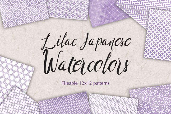 Lilac Digital Paper Japanese Background Patterns