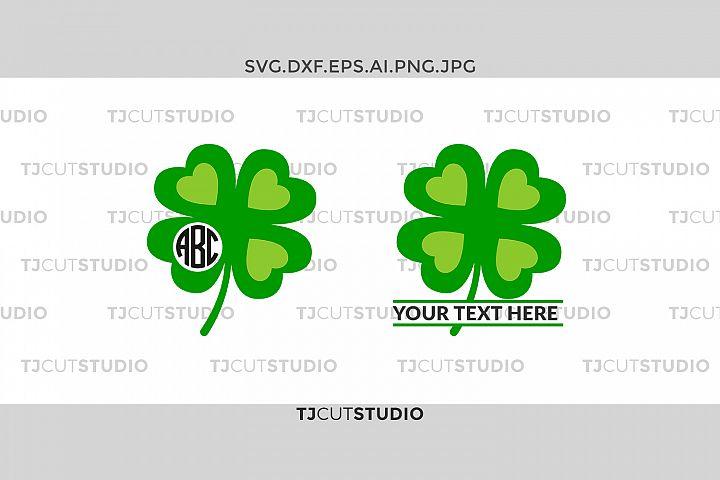 Shamrock monogram svg, four leaf clover svg, clover svg, Svg Files for Silhouette Cameo or Cricut, Commercial & Personal Use.