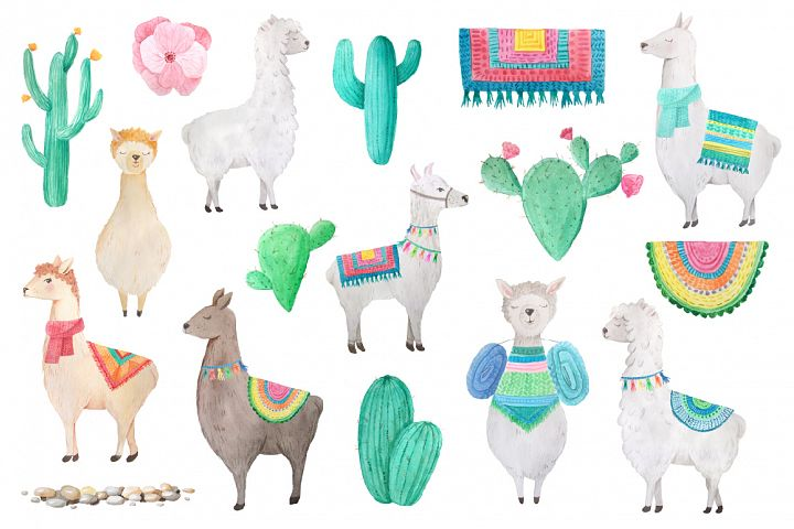 Watercolor Llamas example 3