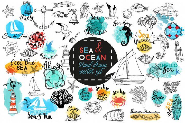 Sea & Ocean.Vector hand drawn set