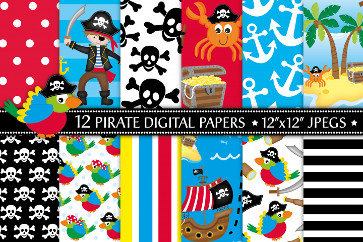 Pirate digital papers, Pirate ship, Pirate patterns, Pirate digital scrapbook papers