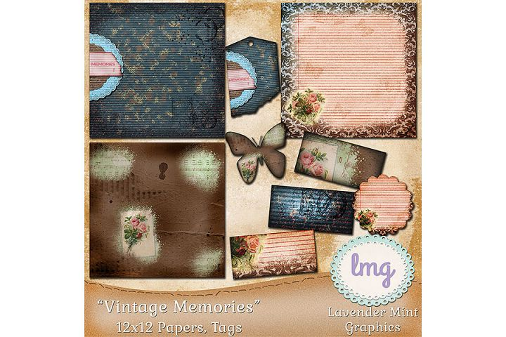 Vintage Memories Digital Scrapbook Papers