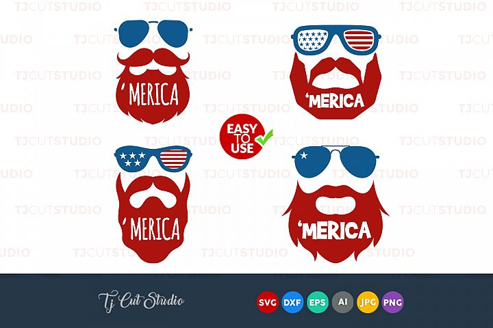 Merica SVG, American flag , Beard svg, 4th of July svg, Memorial Day, Files for Silhouette Cameo or Cricut, Commercial & Personal Use.