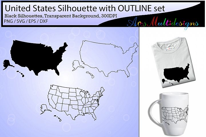 united states map outline / united states map silhouette