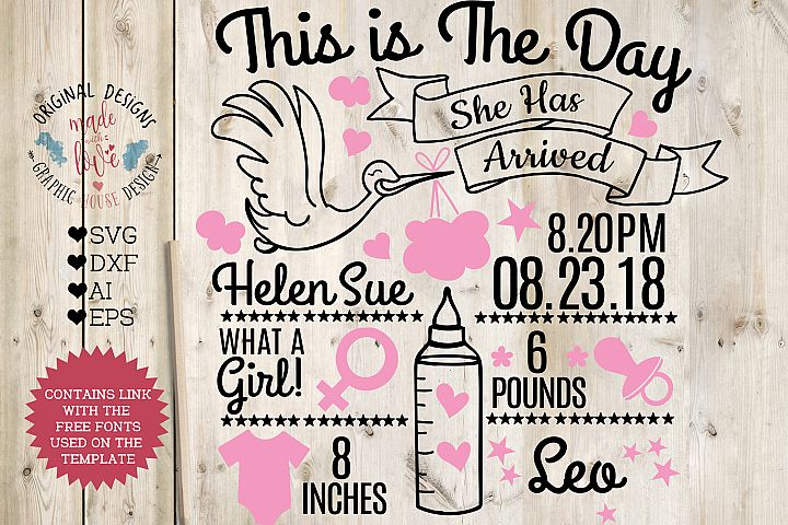 Baby Girl Birth Announcement - Chart in SVG, DXF, EPS, AI