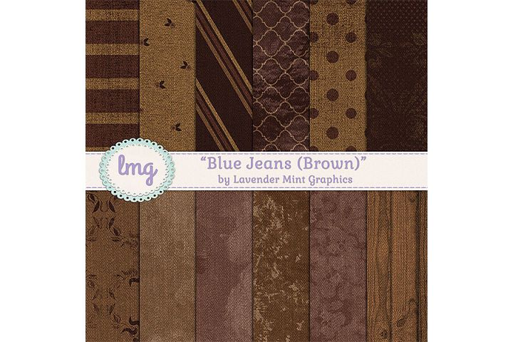 Brown Blue Jeans Digital Papers