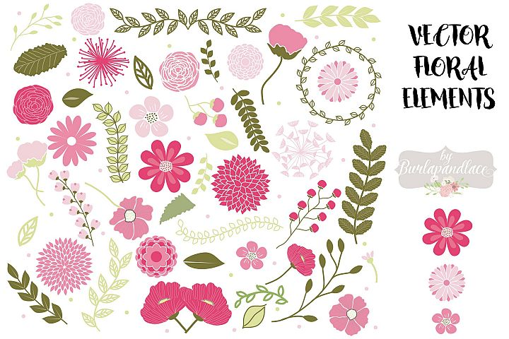 Vector Spring floral elements clipart