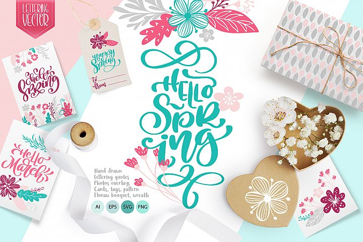 Spring vector lettering & floral greeting card