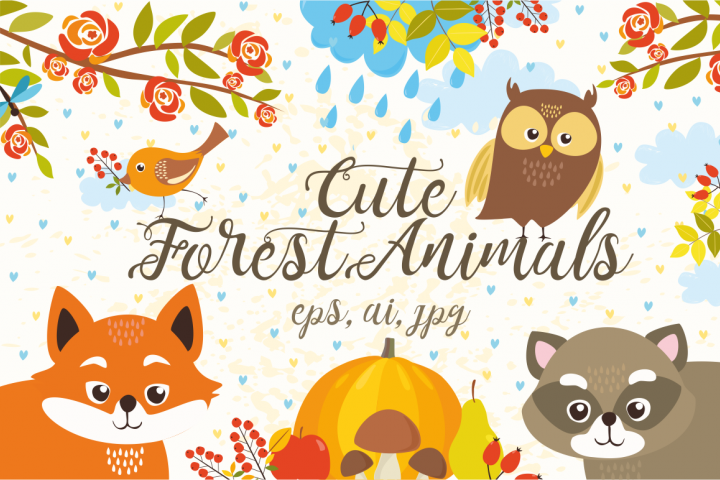 Cute Set Forest Animals and Patterns