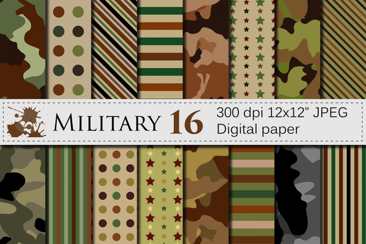 Military Digital paper / Army patterns / Camouflage backgrounds / Stripes and stars Scrapbooking paper
