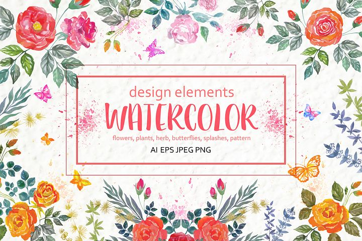 Set of watercolor design elements: rose flowers, plants, butterflies, seamless patterns, splashes.