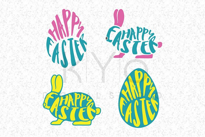 Happy Easter Bunny Egg SVG DXF PNG EPS vector files wrapped text