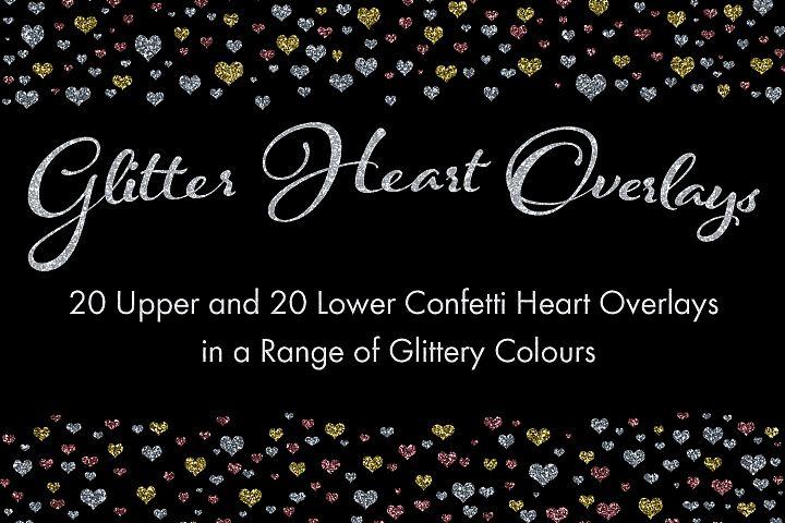 Glitter Heart Overlays