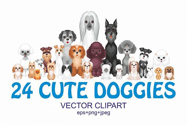 24 cute doggies. Vector clipart.