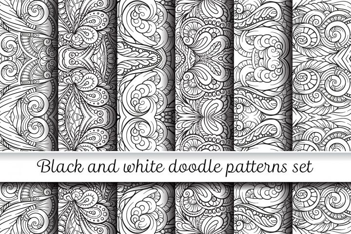 Black and white symmerty doodles patterns set