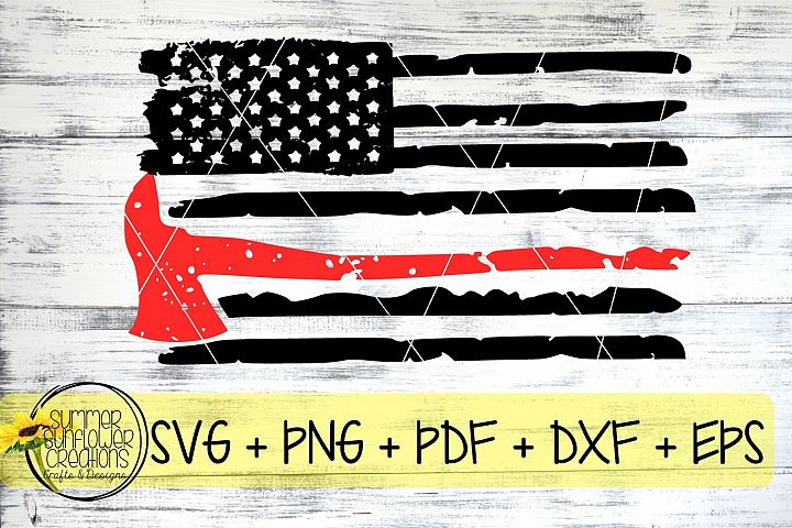 Firefighter Axe Distressed Flag SVG