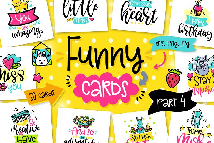 30 Funny Color Cards with Quote