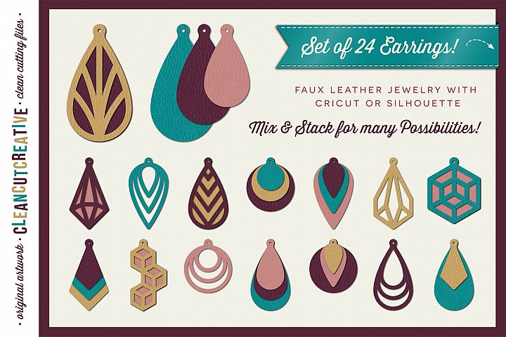 Set of 24 Faux Leather Earrings - SVG DXF EPS PNG - Cricut and Silhouette - clean cutting files