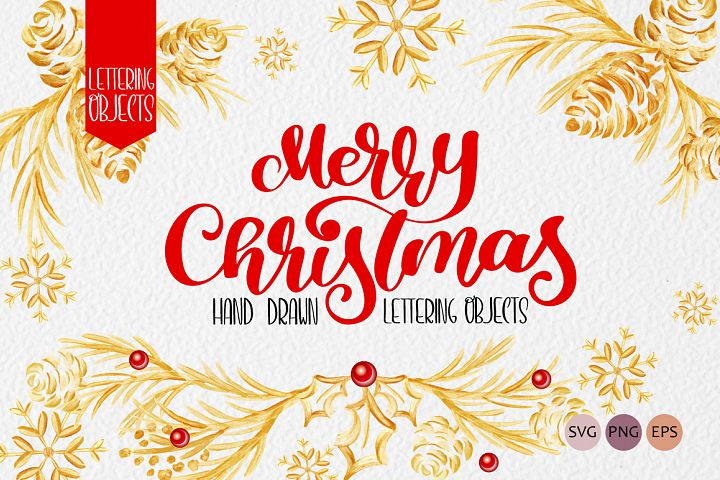 Merry Christmas Hand Draw Lettering Objects
