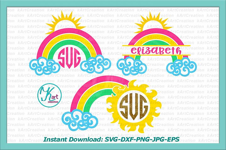 rainbow monogram svg, rainbow split monogram svg, sun monogram svg, clouds svg, new born monogram svg, toddler monogram, baby shower svg