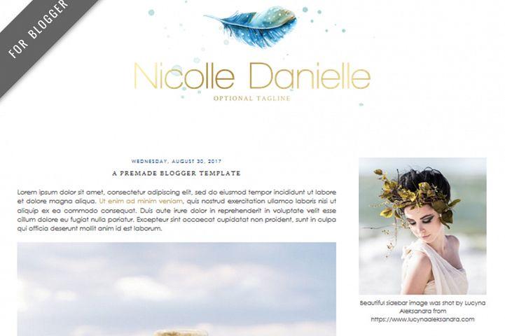 Premade Blogger Template - Mobile Responsive - Watercolor Design Blog - Nicolle Danielle Theme