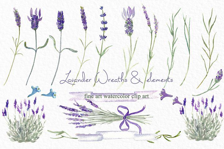 Lavender wreaths watercolor clipart
