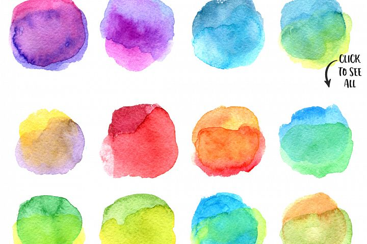 20 watercolor circles texture
