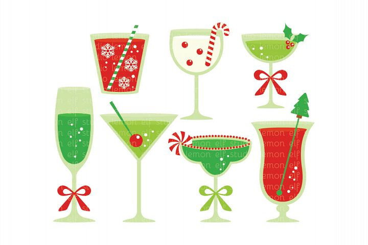 Christmas Cocktails-Digital Clipart (LES.CL53)