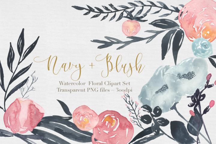Navy + Blush Watercolor Clipart Set