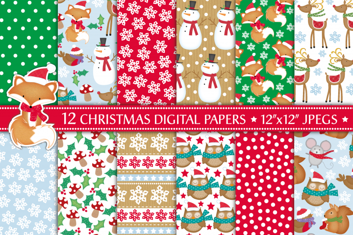Christmas digital papers, Fox digital papers, Christmas patterns, Christmas digital scrapbook papers, Owl papers
