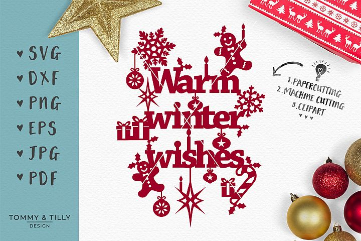 Warm Winter Wishes - SVG EPS DXF PNG PDF JPG Cut File