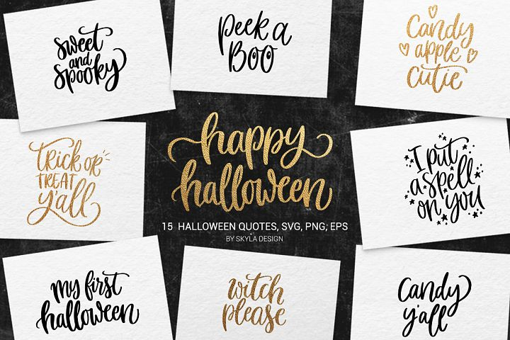 15 Halloween quotes  bundle, SVG, PNG, EPS