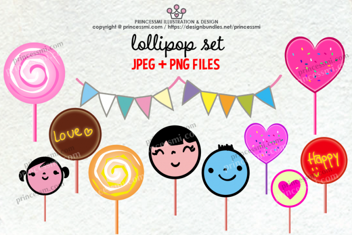 Cute lollipop clipart set