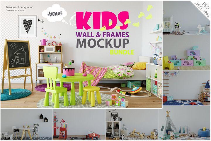 Kids Wall & Frames Mockup - BUNDLE