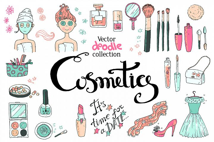 Doodle cosmetics, fashion, spa and beauty. Vector. - Free Design of The Week