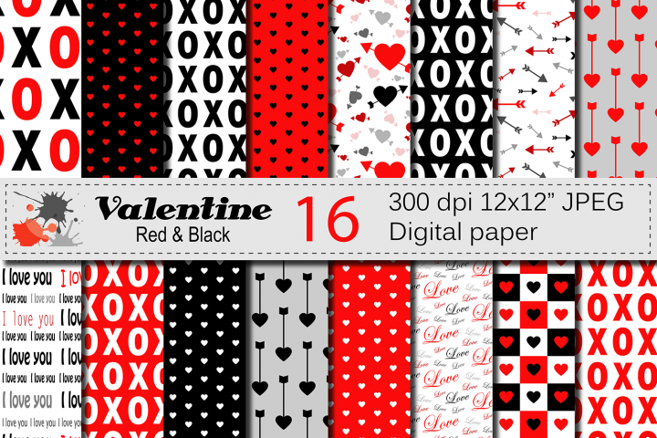 Red and Black Valentine Digital paper Pack with hearts and arrows / Valentine backgrounds / Valentine patterns