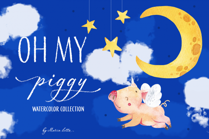 Oh my piggy - watercolor collection
