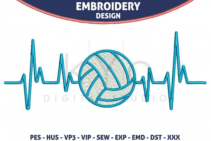 Volleyball Heartbeats Embroidery files HUS VP3 EXP VIP PES, Volleyball Embroidery design files
