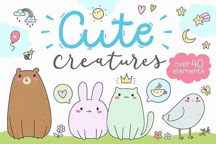 Cute Creatures Vector Set