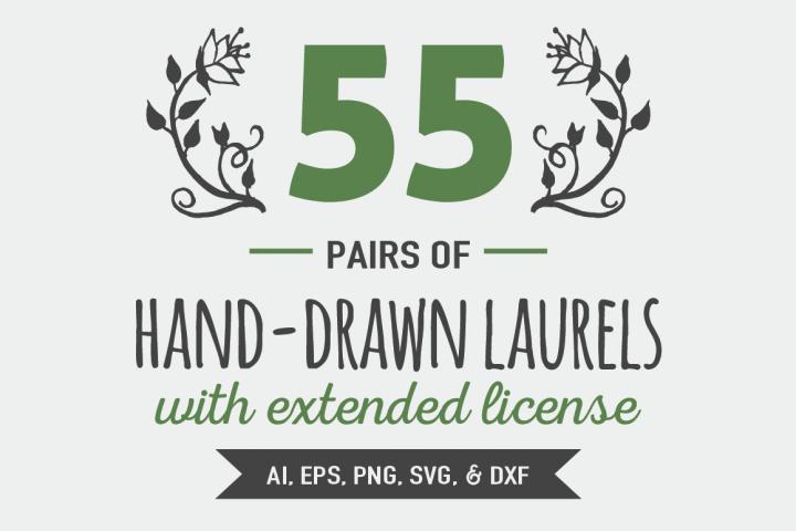 55 Pairs of Hand Drawn Laurels