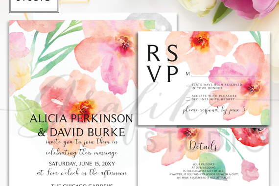 Blushing Floral Wedding Invitation Template