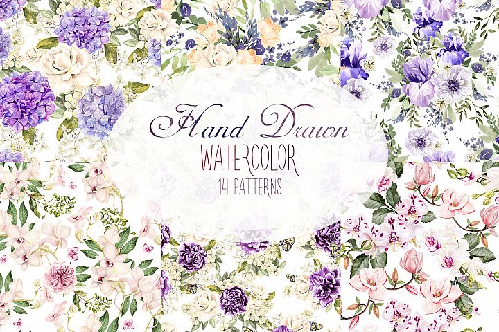 Hand Drawn Watercolor 15 Patterns