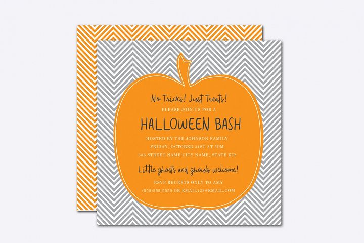 Chevron Pumpkin Halloween Invite Template