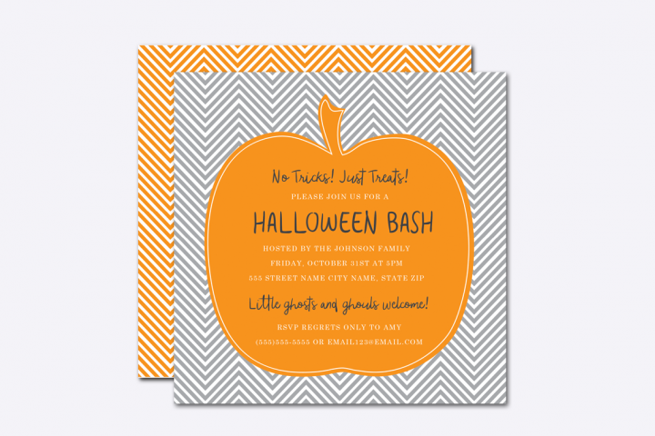Chevron Pumpkin Halloween Invite Template