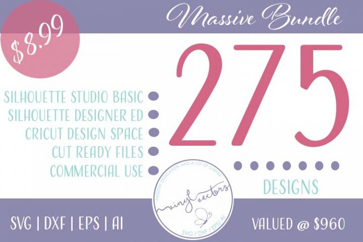 Vinyl & Vectors bundle of 275 Commercial use of SVG, DXF, EPS and Ai designs for Cricut and Silhouette cutting machines