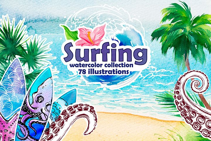 Surfing Watercolor Illustrations